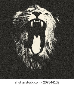 Head of a yawning lion, isolated on black background. The King of beasts shows his huge fangs. Great for user pic, icon, label or tattoo. Amazing illustration in grunge style. Zodiac symbol.