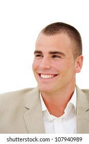 Head of young smiling businessman isolated on white
