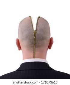 Head zipped open to reveal inside