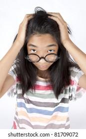 headache, Asian girl crush her dizzy head.