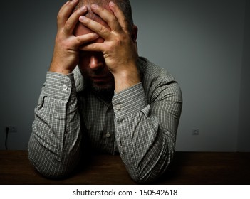Headache. Expressions, feelings and moods. Man suffering from headache