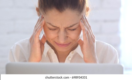Headache, Frustrated Woman, Close Up