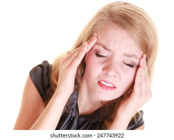 Headache, migraine and stress. Stressed businesswoman worried woman girl suffering from head pain isolated on white.