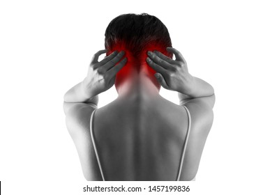 Headache and migraine, woman with head pain isolated on white background, painful area highlighted in red