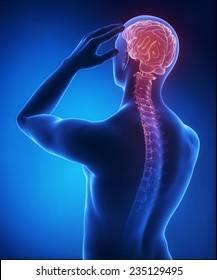 Headache on blue x-ray