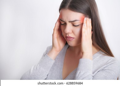 Headache Pain. Beautiful Woman Having Painful Migraine. Health