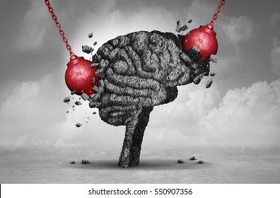 Headache pain and pounding painful migraine concept as a human head brain made of cement being destroyed or renovated by a group of wrecking ball objects with 3D illustration.