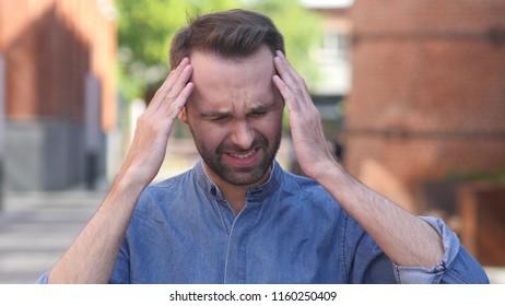 Headache, Portrait of Tense Casual Man in Office