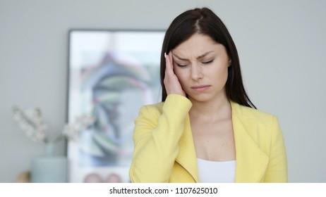 Headache, Portrait of Tense Woman in Office