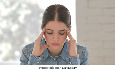 Headache, Portrait of Tense Young Girl in Office