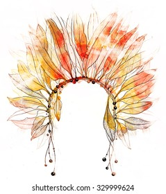 headdress of Indian with feathers, ropes and beads - digital mixed media hand drawn artwork and watercolor texture