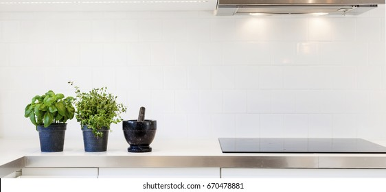 header of a fancy kitchen counter top with fresh herbs by the modern oven