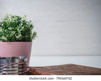 Header hero image for website green tree in pink pot, candles and vintage