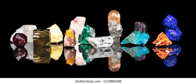 Header, variety of colorful mineral gemstones and healing stones, natural and raw