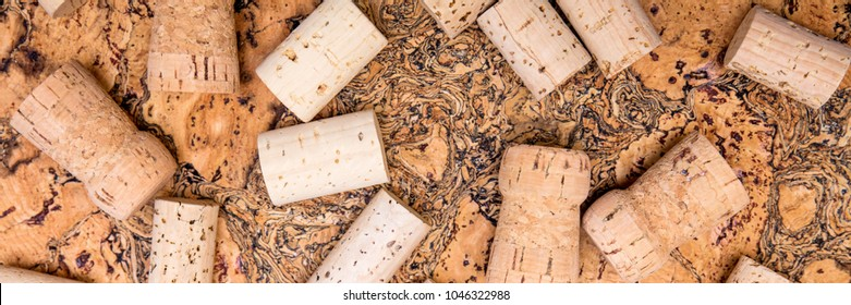 Header, wine and champagne cork spreading on untreated cork, naturally product