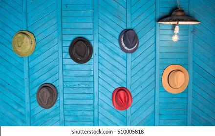 headgear, hats on the wall