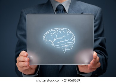 Headhunter, human resources (HR), business connected with new technologies, creativity, artificial intelligence and business vision concept. Businessman with futuristic tablet and brain on it.
