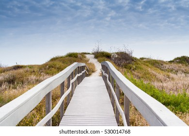 Heading to the beach over the dunes in Port Aransas, Texas