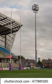 Headingley Carnegie Stadium. Leeds.UK: September 2016. Floodlights at Headingley Carnegie Stadium that illuminate the home games for the Rugby League team Leeds Rhinos from Superleague