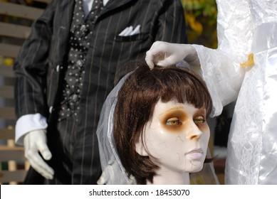 Headless bride Halloween display.