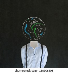 Headless business man, teacher or student with world earth globe head