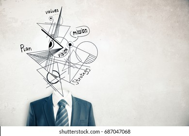 Headless businessman in suit and tie with abstract geometric vision sketch instead of head on concrete background with copy space. Values concept