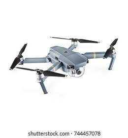 Headless Quadcopter with Action Camera Isolated on White Background. Side View of Aerial Quad Copter with Digital Camera. Flying Remote Control Air Drone