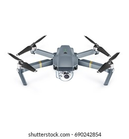Headless Quadcopter Drone with Action Camera Isolated on White Background. Aerial Quad Copter with Digital Camera. Flying Remote Control Air Drone
