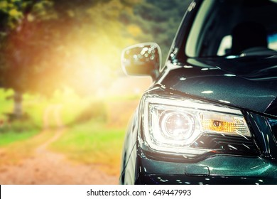 Headlight  car, closeup