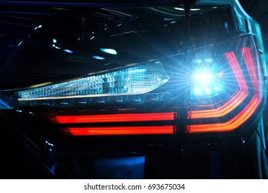 Headlight car Projector/LED of a modern luxury technology and auto detail