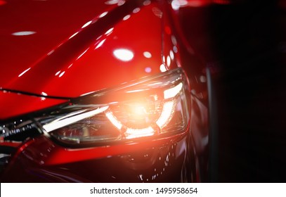 Headlight lamp of new cars,Close up detail on one of the LED headlights modern car.