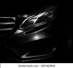 The headlight of a modern, executive car.