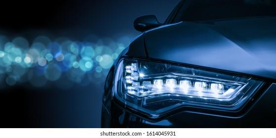 headlight of  modern prestigious car close up