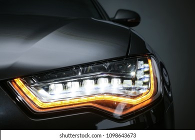 headlight of  modern prestigious car closeup