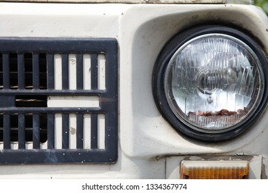 The Headlight of a old retro car