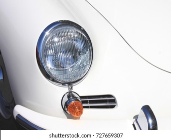 headlight of old vintage car close-up