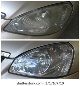headlight restored before and after