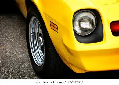 Headlight of a vintage American car