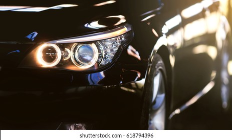 Headlights of luxury car.