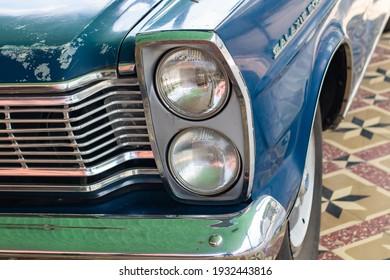 Headlights of an old car at the Kraton Yogyakarta Indonesia September 4, 2020