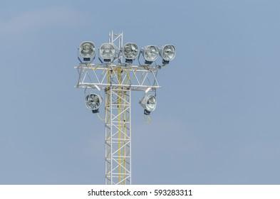 headlights on high tower