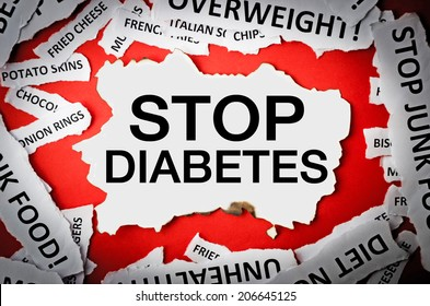 Headline stop diabetes of torn papers