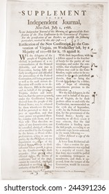 Headlines of Virginia's ratification of the Constitution. Virginia was the finally ratified the Constitution on July 2 1788. Virginia was the 10th of the 13 states to ratify the Constitution.