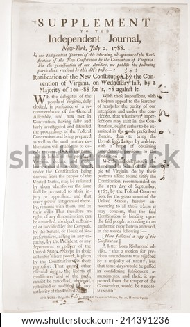 Headlines Virginias Ratification Constitution Virginia Finally Stock
