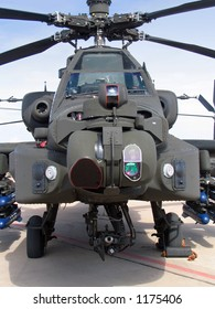 A head-on view of an Hughes AH-64 Apache Attack Helicopter