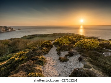 Headon Warren, Totland, Isle of Wight at Sundown, looking out over The Needles