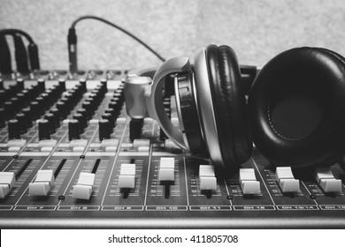 headphone on sound mixer background.
