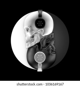 Headphone skulls harmony / 3D illustration of black and white skulls with headphones forming yin yang symbol