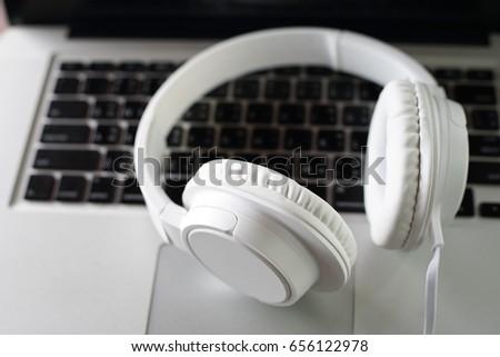 Headphones Computer Online Music Listening Music Stock Photo (Edit