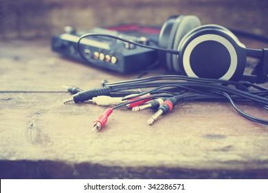 Headphones and DJ equipment/ selective focus